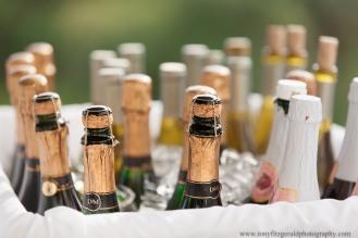 Champagne bottles at wedding