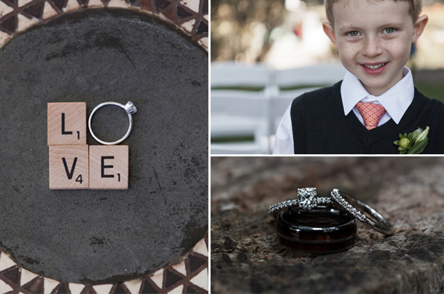 Three photo collage of wedding ring engagement ring and ring bearer